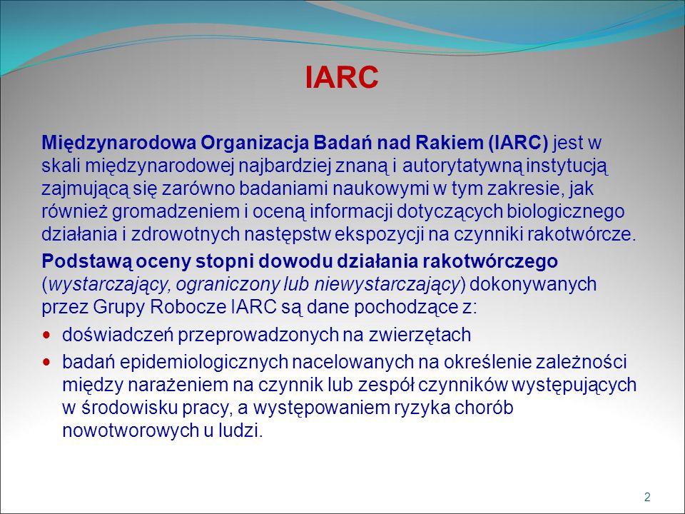 IARC Międzynarodowa Organizacja Badań nad Rakiem (IARC) jest w skali międzynarodowej najbardziej znaną i autorytatywną instytucją zajmującą się zarówn