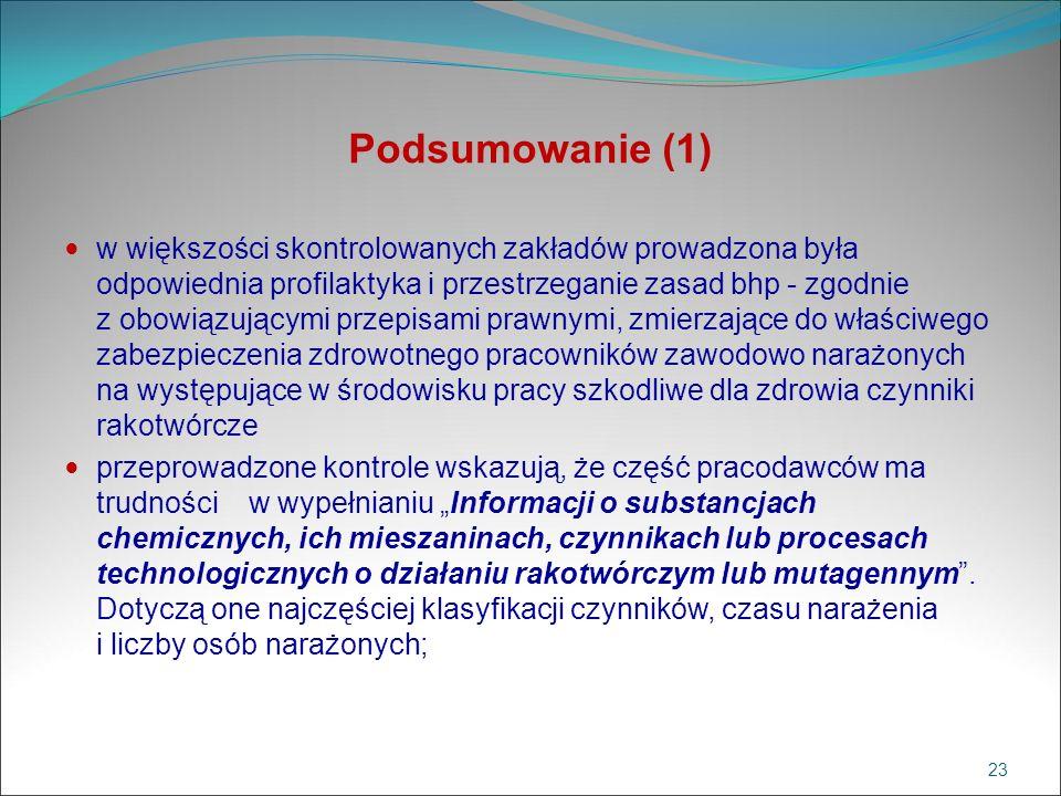 Podsumowanie (1) w większości skontrolowanych zakładów prowadzona była odpowiednia profilaktyka i przestrzeganie zasad bhp - zgodnie z obowiązującymi