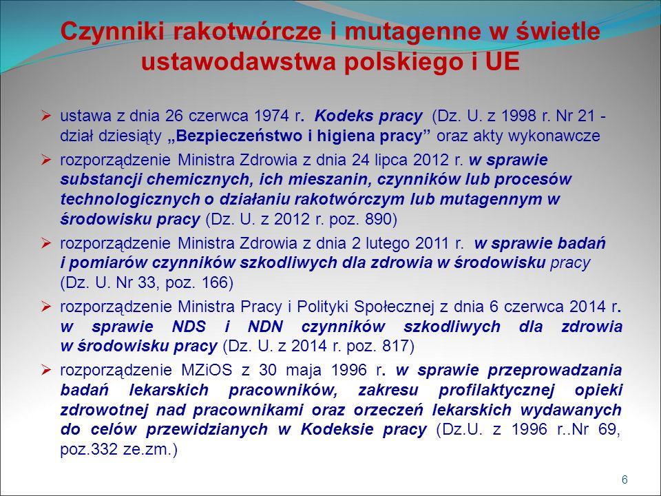 Czynniki rakotwórcze i mutagenne w świetle ustawodawstwa polskiego i UE  ustawa z dnia 26 czerwca 1974 r. Kodeks pracy (Dz. U. z 1998 r. Nr 21 - dzia