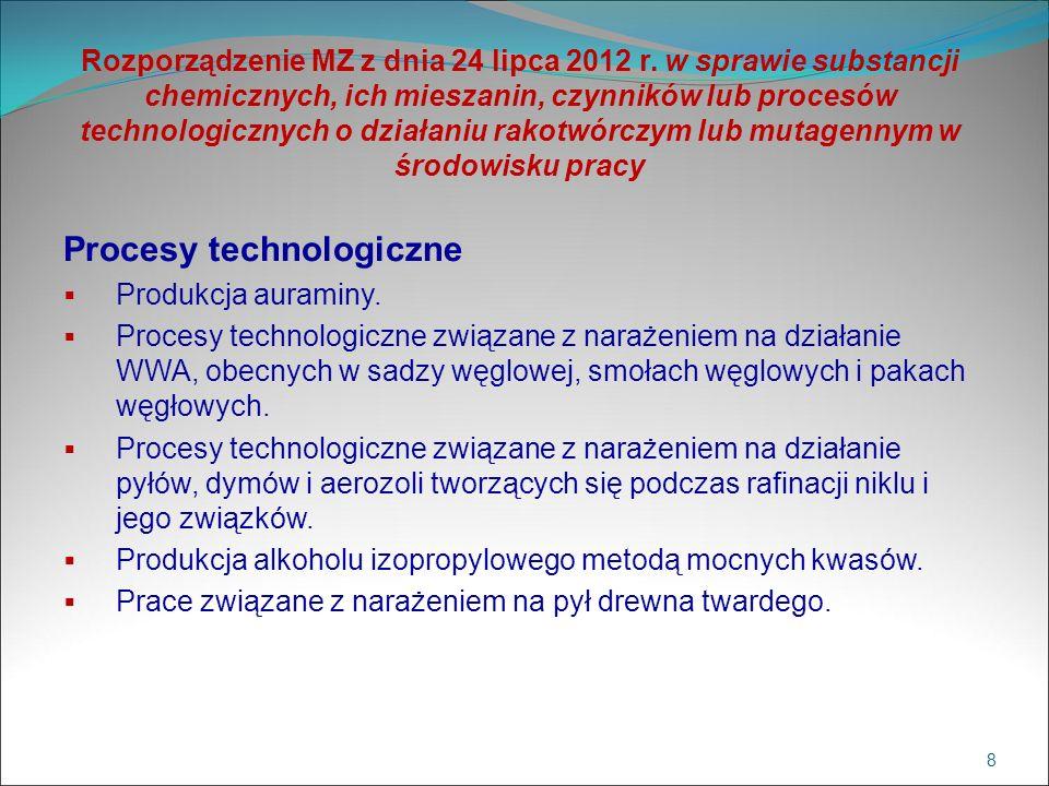 Rozporządzenie MZ z dnia 24 lipca 2012 r. w sprawie substancji chemicznych, ich mieszanin, czynników lub procesów technologicznych o działaniu rakotwó