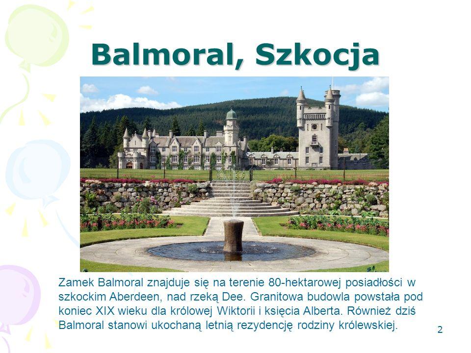 Balmoral, Szkocja Zamek Balmoral znajduje się na terenie 80-hektarowej posiadłości w szkockim Aberdeen, nad rzeką Dee. Granitowa budowla powstała pod