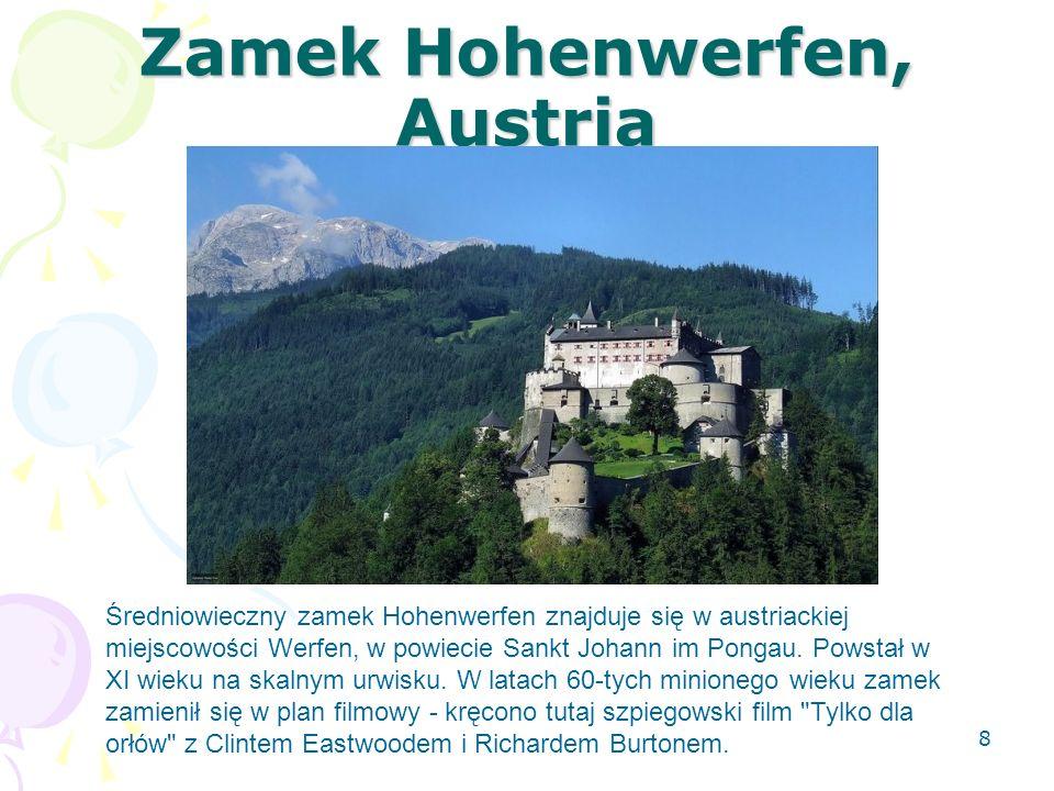 Zamek Hohenwerfen, Austria Średniowieczny zamek Hohenwerfen znajduje się w austriackiej miejscowości Werfen, w powiecie Sankt Johann im Pongau. Powsta