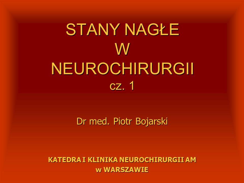 STANY NAGŁE W NEUROCHIRURGII urazy czaszkowo-mózgoweurazy czaszkowo-mózgowe urazy kręgosłupaurazy kręgosłupa urazy wielomiejscoweurazy wielomiejscowe ostre wodogłowieostre wodogłowie krwotok podpajęczynówkowykrwotok podpajęczynówkowy krwotok śródmózgowy nieurazowykrwotok śródmózgowy nieurazowy guzy mózgu i móżdżkuguzy mózgu i móżdżku centralne wypadniecie dysku (j.