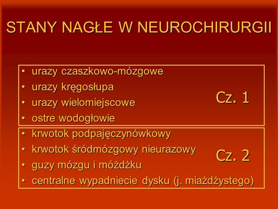 STANY NAGŁE W NEUROCHIRURGII urazy czaszkowo-mózgoweurazy czaszkowo-mózgowe urazy kręgosłupaurazy kręgosłupa urazy wielomiejscoweurazy wielomiejscowe