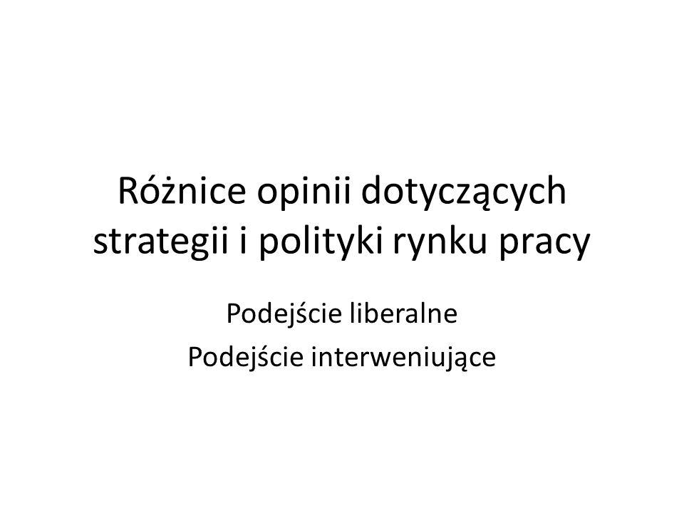 Różnice opinii dotyczących strategii i polityki rynku pracy Podejście liberalne Podejście interweniujące