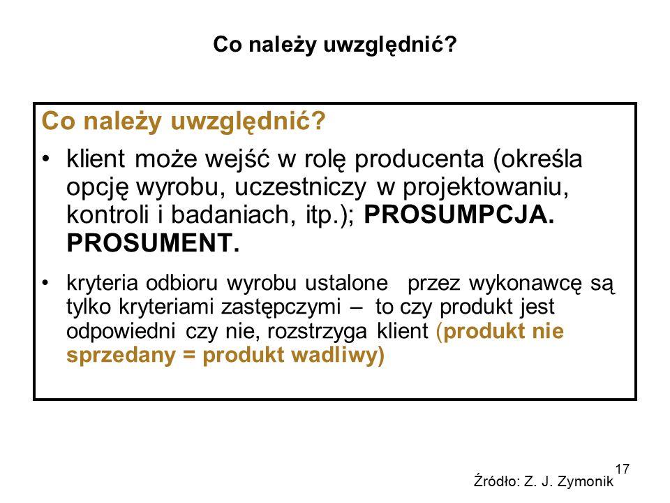 17 Co należy uwzględnić? klient może wejść w rolę producenta (określa opcję wyrobu, uczestniczy w projektowaniu, kontroli i badaniach, itp.); PROSUMPC