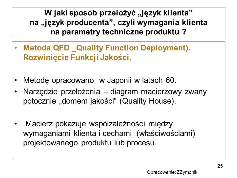 """W jaki sposób przełożyć """"język klienta"""" na """"język producenta"""", czyli wymagania klienta na parametry techniczne produktu ? Metoda QFD _Quality Function"""