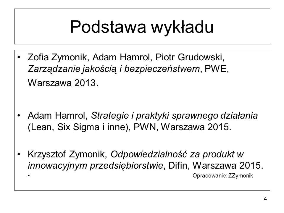 Podstawa wykładu Zofia Zymonik, Adam Hamrol, Piotr Grudowski, Zarządzanie jakością i bezpieczeństwem, PWE, Warszawa 2013. Adam Hamrol, Strategie i pra
