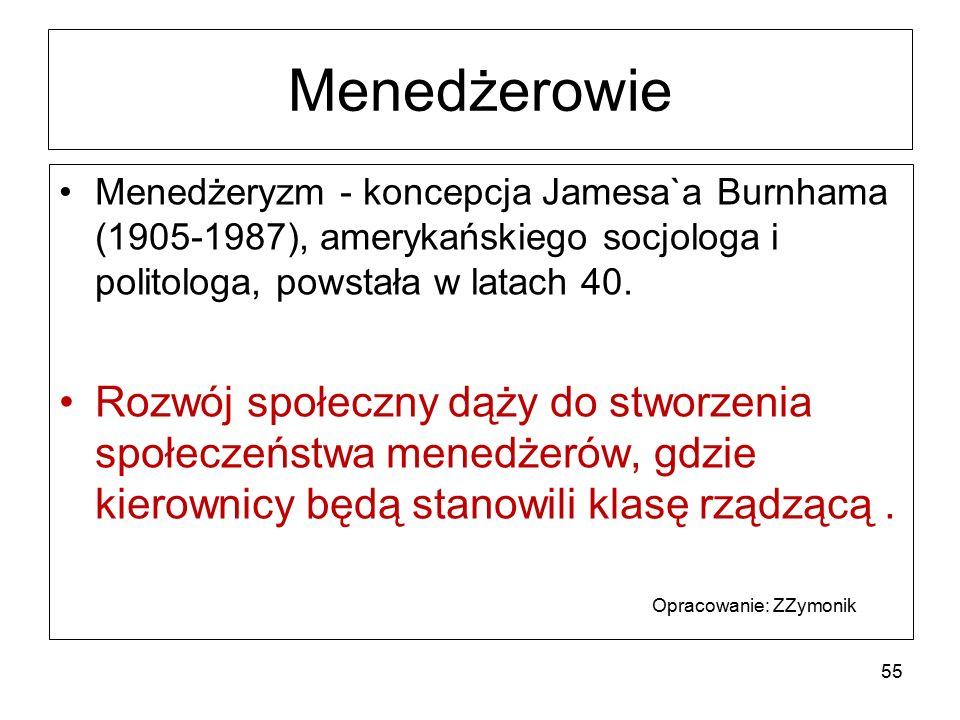 Menedżerowie Menedżeryzm - koncepcja Jamesa`a Burnhama (1905-1987), amerykańskiego socjologa i politologa, powstała w latach 40. Rozwój społeczny dąży