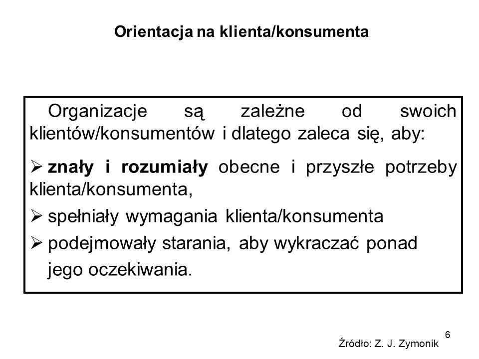 Pojęcie klienta/konsumenta Konsument) – osoba fizyczna, która zawiera umowę w celu niezwiązanym z prowadzoną działalnością gospodarczą lub zawodową (KZymonik, s.35).