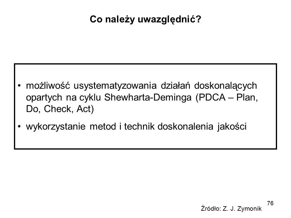 76 Co należy uwazględnić? możliwość usystematyzowania działań doskonalących opartych na cyklu Shewharta-Deminga (PDCA – Plan, Do, Check, Act) wykorzys