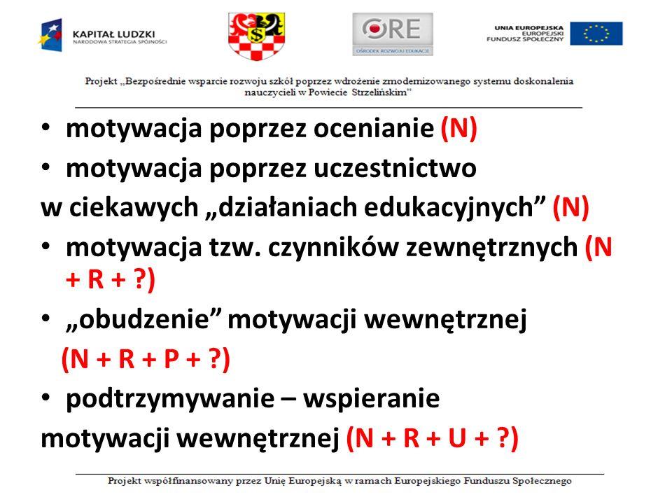 """motywacja poprzez ocenianie (N) motywacja poprzez uczestnictwo w ciekawych """"działaniach edukacyjnych"""" (N) motywacja tzw. czynników zewnętrznych (N + R"""