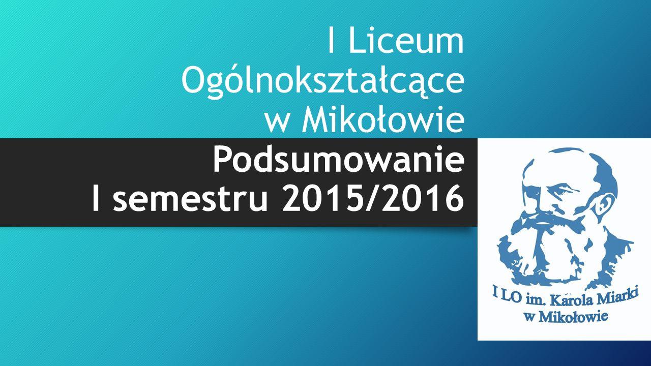 I Liceum Ogólnokształcące w Mikołowie Podsumowanie I semestru 2015/2016