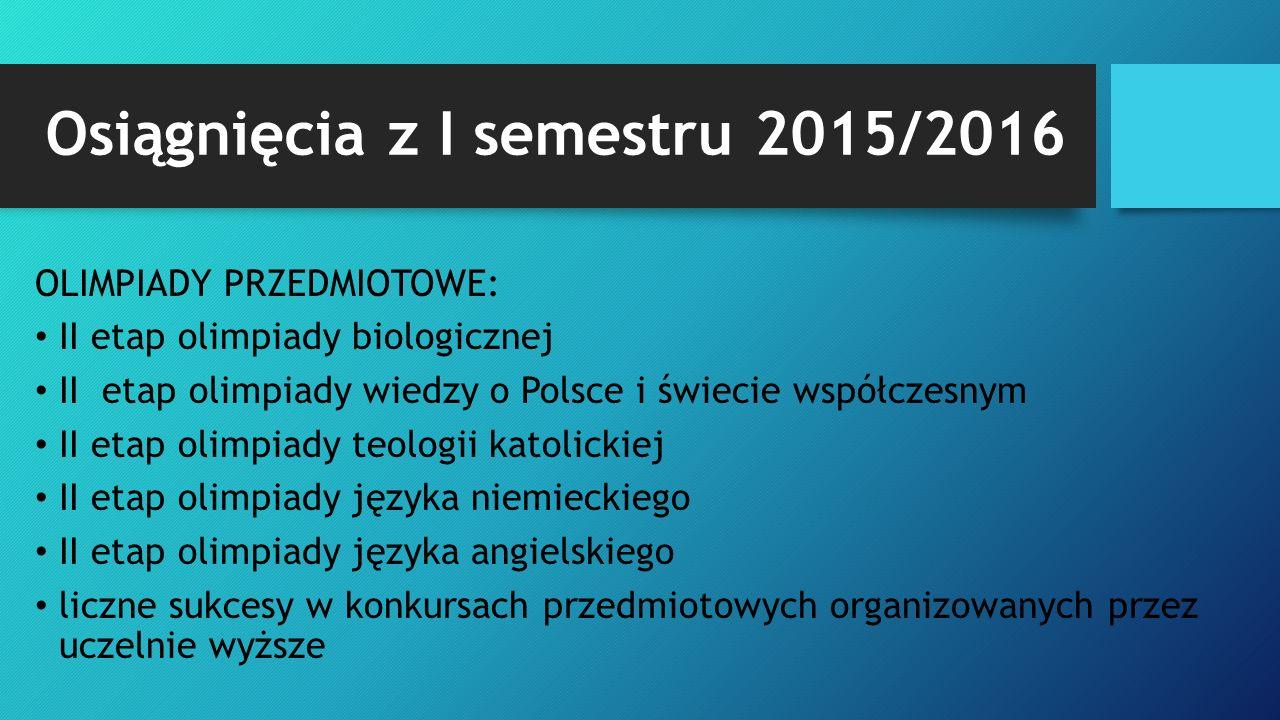 Osiągnięcia z I semestru 2015/2016 OLIMPIADY PRZEDMIOTOWE: II etap olimpiady biologicznej II etap olimpiady wiedzy o Polsce i świecie współczesnym II