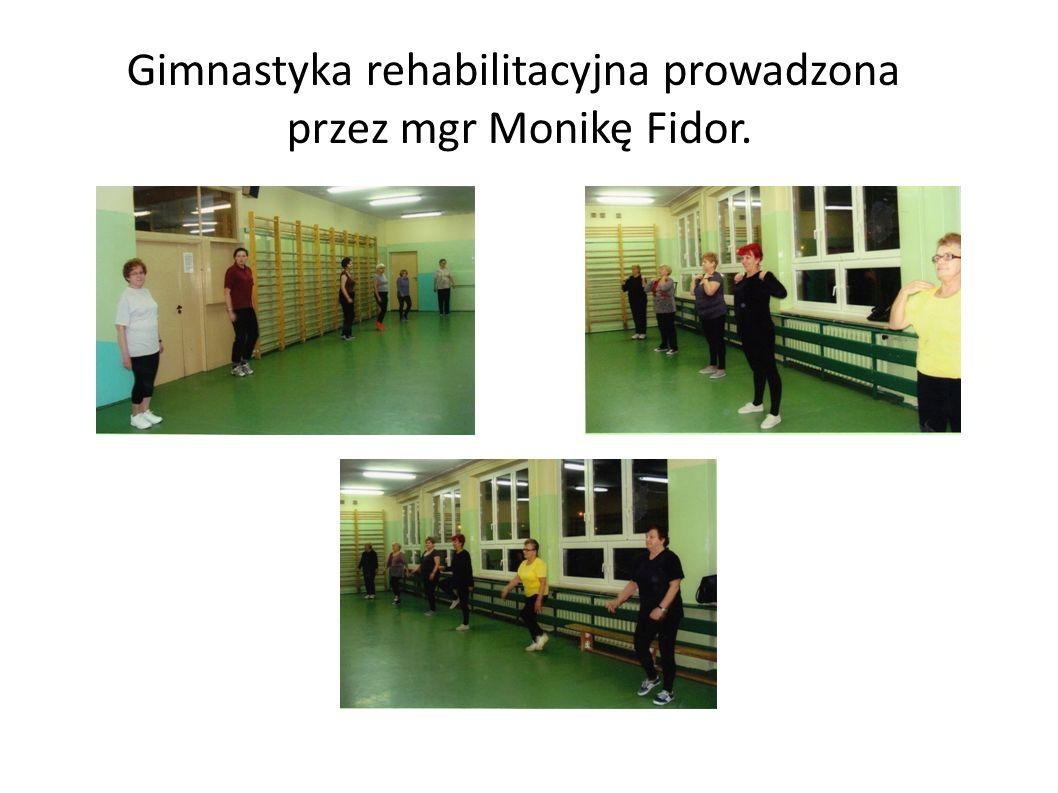 Gimnastyka rehabilitacyjna prowadzona przez mgr Monikę Fidor.