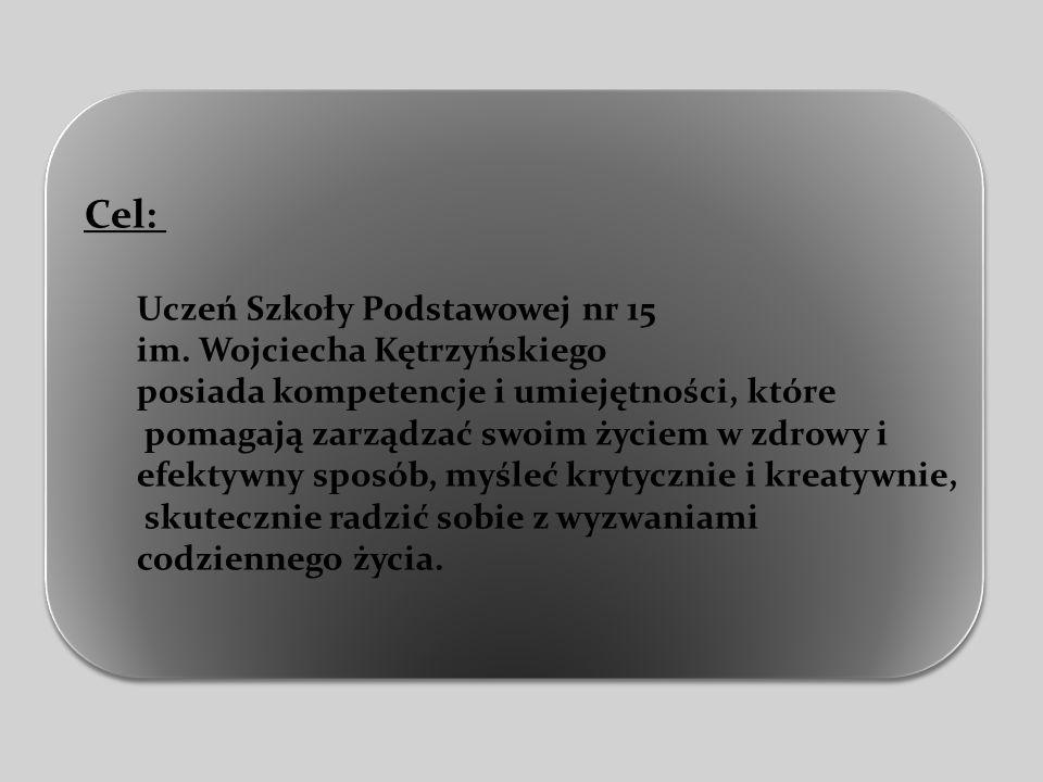 Cel: Uczeń Szkoły Podstawowej nr 15 im. Wojciecha Kętrzyńskiego posiada kompetencje i umiejętności, które pomagają zarządzać swoim życiem w zdrowy i e