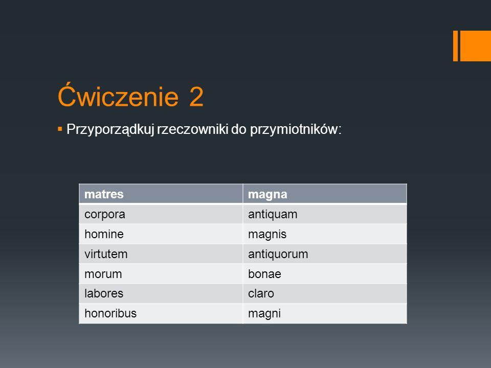 Ćwiczenie 2  Przyporządkuj rzeczowniki do przymiotników: matresmagna corporaantiquam hominemagnis virtutemantiquorum morumbonae laboresclaro honoribu