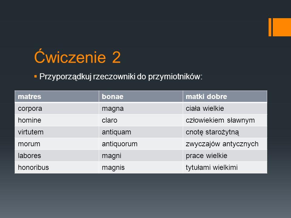 Ćwiczenie 2  Przyporządkuj rzeczowniki do przymiotników: matresbonaematki dobre corporamagnaciała wielkie homineclaroczłowiekiem sławnym virtutemanti