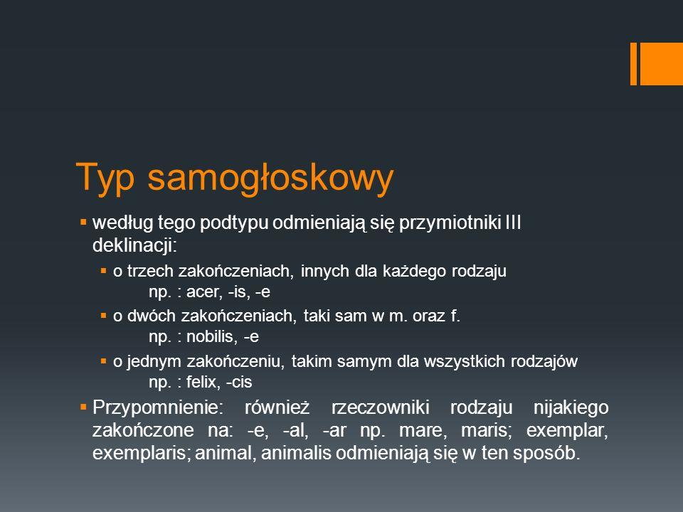Typ samogłoskowy  według tego podtypu odmieniają się przymiotniki III deklinacji:  o trzech zakończeniach, innych dla każdego rodzaju np. : acer, -i