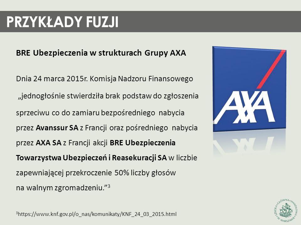 """BRE Ubezpieczenia w strukturach Grupy AXA Dnia 24 marca 2015r. Komisja Nadzoru Finansowego """"jednogłośnie stwierdziła brak podstaw do zgłoszenia sprzec"""