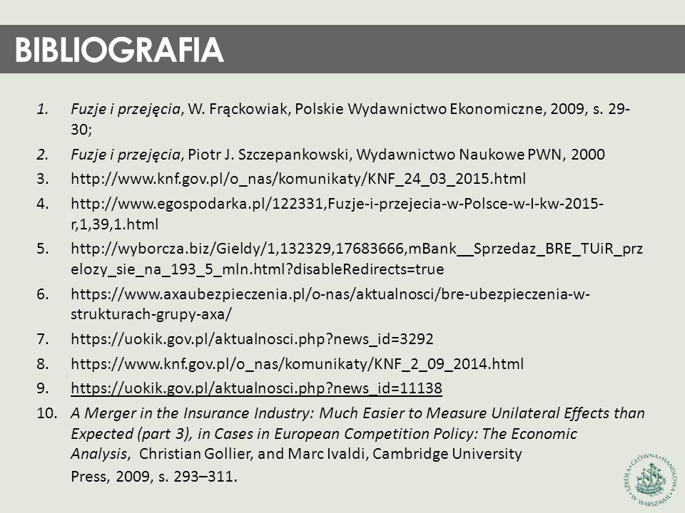 1.Fuzje i przejęcia, W. Frąckowiak, Polskie Wydawnictwo Ekonomiczne, 2009, s. 29- 30; 2.Fuzje i przejęcia, Piotr J. Szczepankowski, Wydawnictwo Naukow
