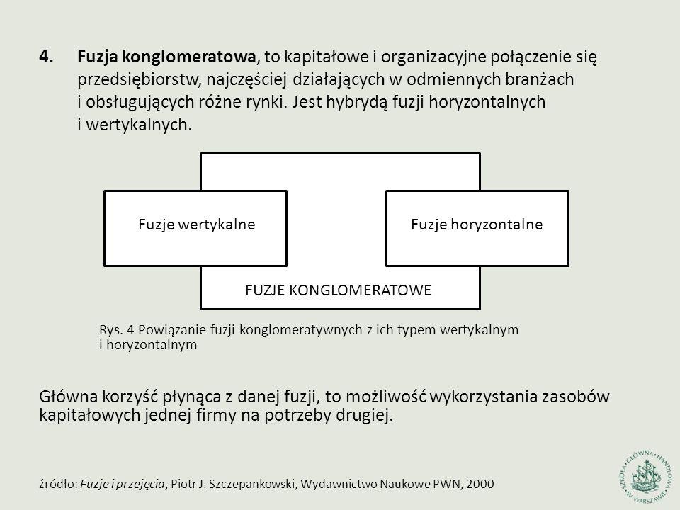 4.Fuzja konglomeratowa, to kapitałowe i organizacyjne połączenie się przedsiębiorstw, najczęściej działających w odmiennych branżach i obsługujących r