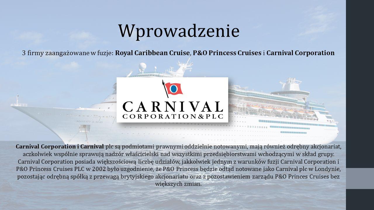 3 firmy zaangażowane w fuzje: Royal Caribbean Cruise, P&O Princess Cruises i Carnival Corporation Carnival Corporation i Carnival plc są podmiotami pr