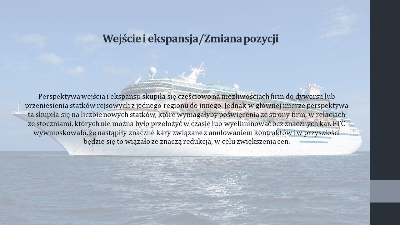 Perspektywa wejścia i ekspansji skupiła się częściowo na możliwościach firm do dywersji lub przeniesienia statków rejsowych z jednego regionu do inneg