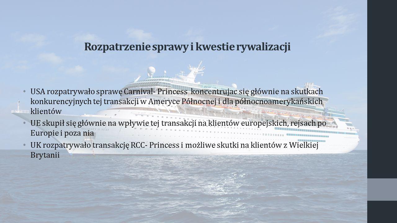 Rozpatrzenie sprawy i kwestie rywalizacji USA rozpatrywało sprawę Carnival- Princess koncentrujac się głównie na skutkach konkurencyjnych tej transakc