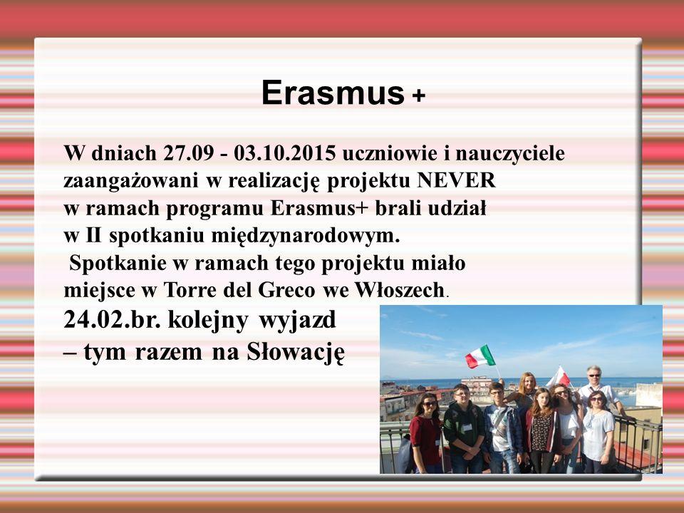 Erasmus + W dniach 27.09 - 03.10.2015 uczniowie i nauczyciele zaangażowani w realizację projektu NEVER w ramach programu Erasmus+ brali udział w II sp