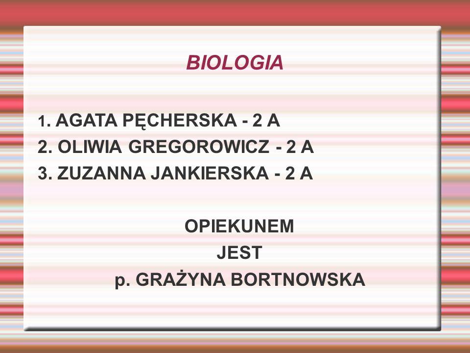 BIOLOGIA 1. AGATA PĘCHERSKA - 2 A 2. OLIWIA GREGOROWICZ - 2 A 3. ZUZANNA JANKIERSKA - 2 A OPIEKUNEM JEST p. GRAŻYNA BORTNOWSKA