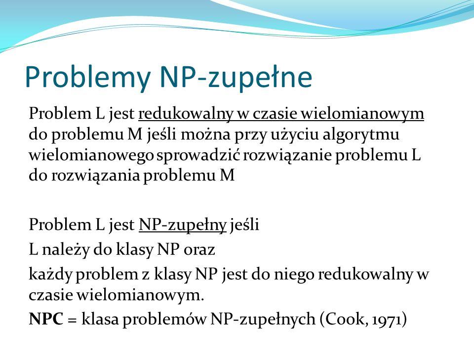 Problemy NP-zupełne Problem L jest redukowalny w czasie wielomianowym do problemu M jeśli można przy użyciu algorytmu wielomianowego sprowadzić rozwią