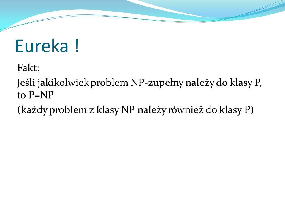 Eureka ! Fakt: Jeśli jakikolwiek problem NP-zupełny należy do klasy P, to P=NP (każdy problem z klasy NP należy również do klasy P)