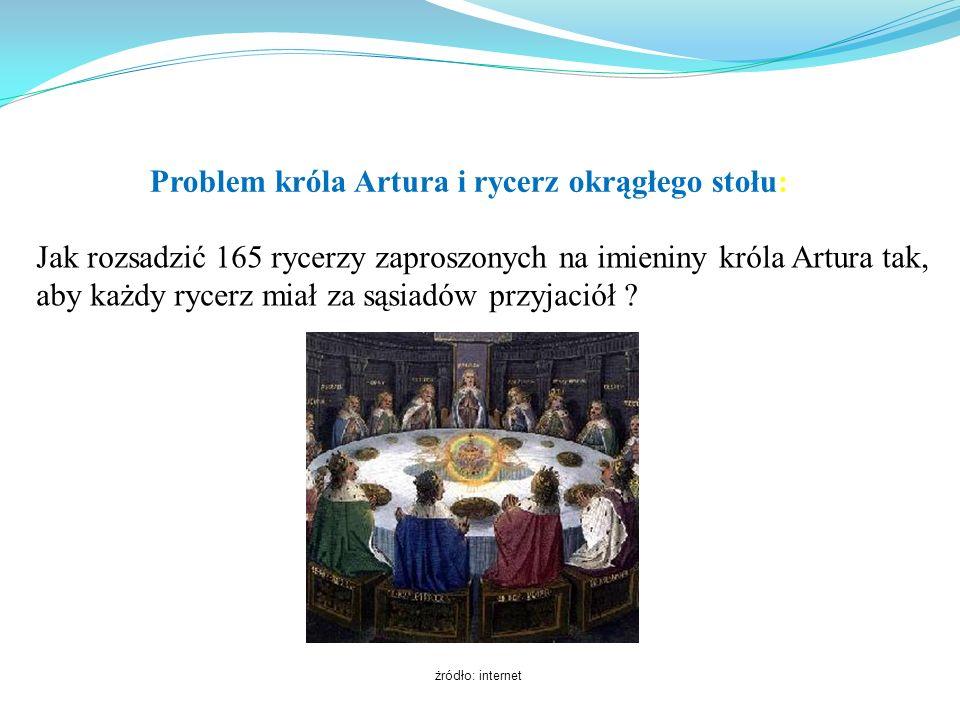 Problem króla Artura i rycerz okrągłego stołu: Jak rozsadzić 165 rycerzy zaproszonych na imieniny króla Artura tak, aby każdy rycerz miał za sąsiadów