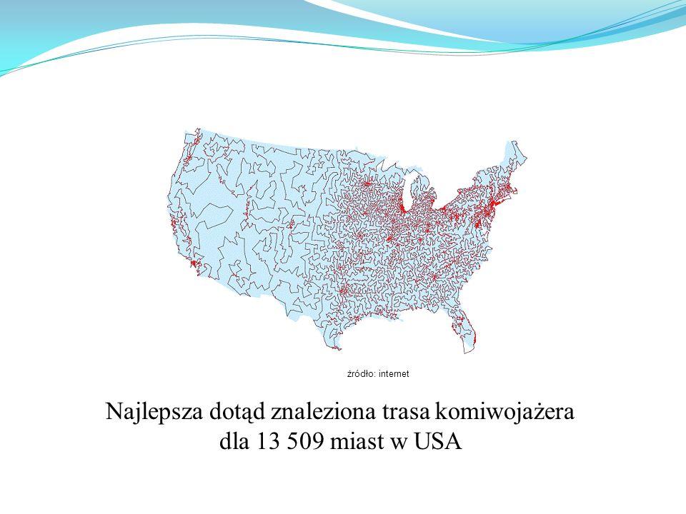 Najlepsza dotąd znaleziona trasa komiwojażera dla 13 509 miast w USA żródło: internet