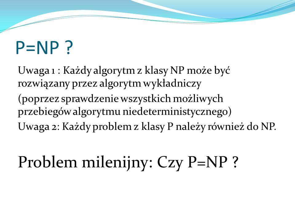 P=NP ? Uwaga 1 : Każdy algorytm z klasy NP może być rozwiązany przez algorytm wykładniczy (poprzez sprawdzenie wszystkich możliwych przebiegów algoryt