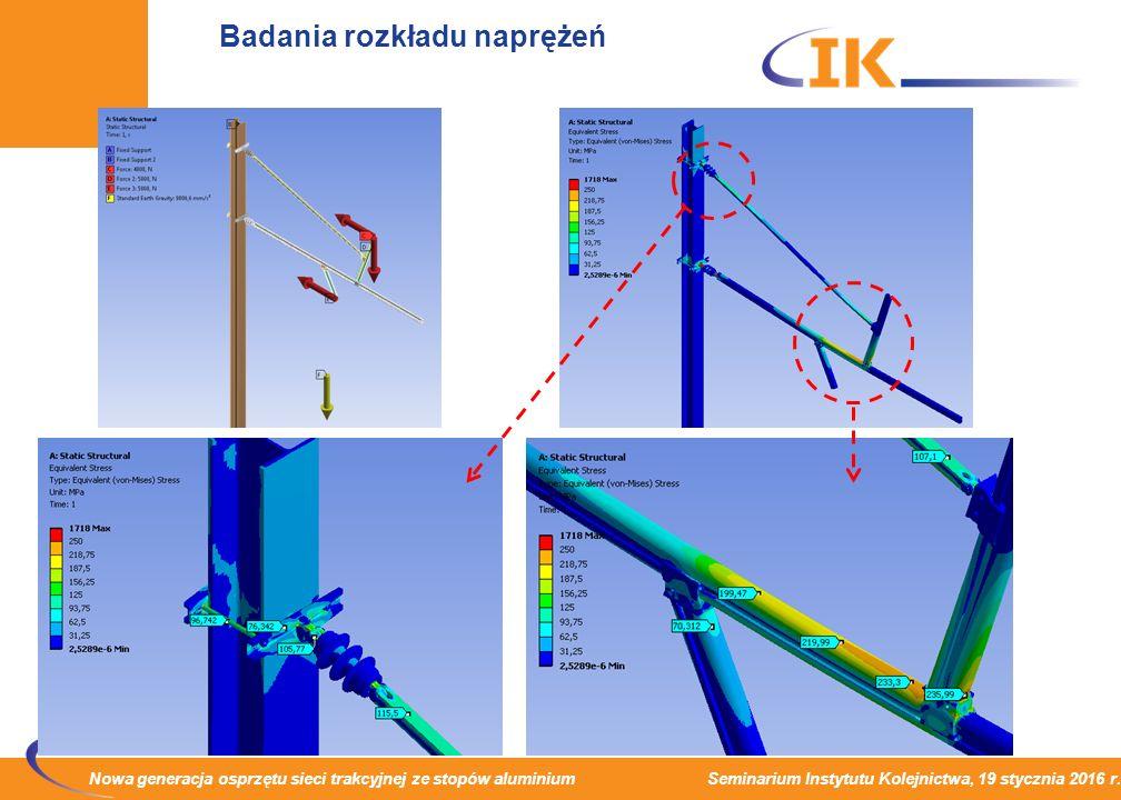 Nowa generacja osprzętu sieci trakcyjnej ze stopów aluminium Seminarium Instytutu Kolejnictwa, 19 stycznia 2016 r. Badania rozkładu naprężeń