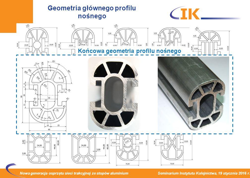Nowa generacja osprzętu sieci trakcyjnej ze stopów aluminium Seminarium Instytutu Kolejnictwa, 19 stycznia 2016 r. Geometria głównego profilu nośnego