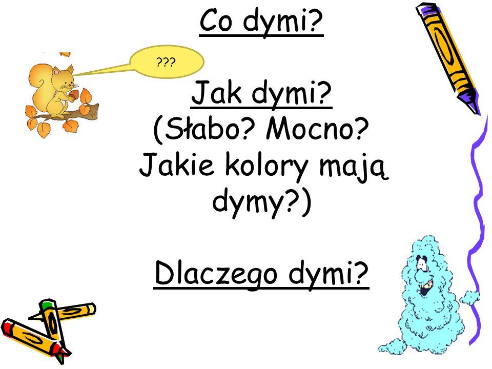 Co dymi? Jak dymi? (Słabo? Mocno? Jakie kolory mają dymy?) Dlaczego dymi? ???