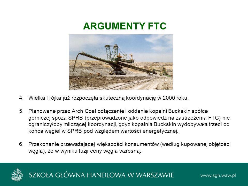 ARGUMENTY FTC 4.Wielka Trójka już rozpoczęła skuteczną koordynację w 2000 roku. 5.Planowane przez Arch Coal odłączenie i oddanie kopalni Buckskin spół