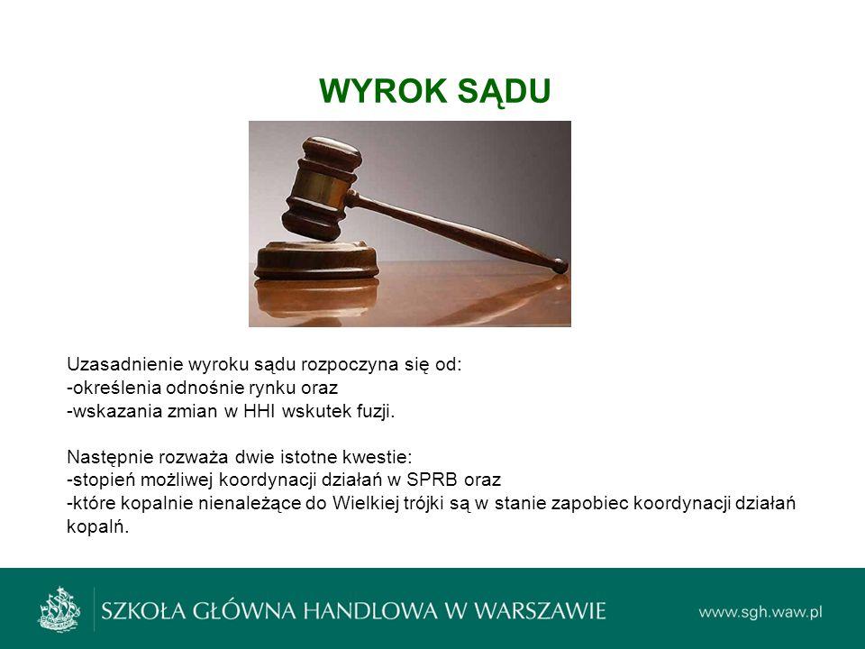 WYROK SĄDU Uzasadnienie wyroku sądu rozpoczyna się od: -określenia odnośnie rynku oraz -wskazania zmian w HHI wskutek fuzji. Następnie rozważa dwie is