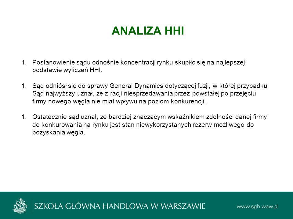 ANALIZA HHI 1.Postanowienie sądu odnośnie koncentracji rynku skupiło się na najlepszej podstawie wyliczeń HHI. 1.Sąd odniósł się do sprawy General Dyn