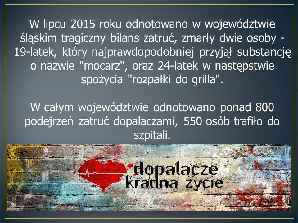 W lipcu 2015 roku odnotowano w województwie śląskim tragiczny bilans zatruć, zmarły dwie osoby - 19-latek, który najprawdopodobniej przyjął substancję