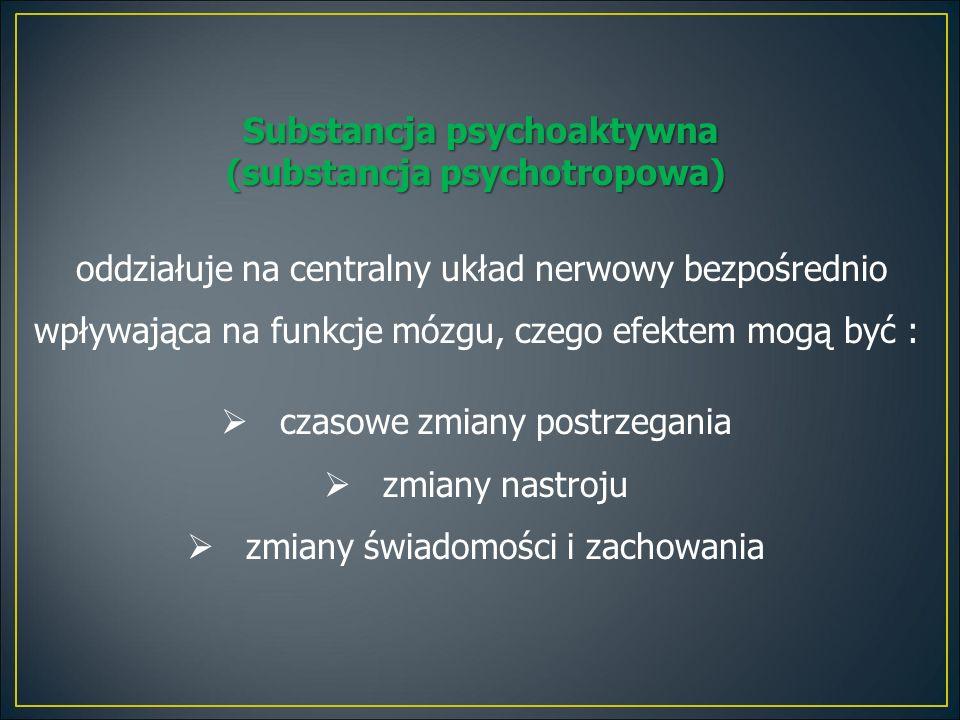 Substancja psychoaktywna (substancja psychotropowa) oddziałuje na centralny układ nerwowy bezpośrednio wpływająca na funkcje mózgu, czego efektem mogą