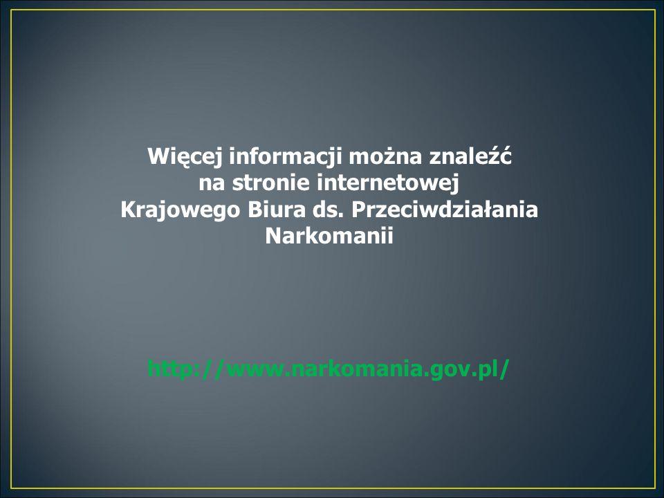 Więcej informacji można znaleźć na stronie internetowej Krajowego Biura ds. Przeciwdziałania Narkomanii http://www.narkomania.gov.pl/