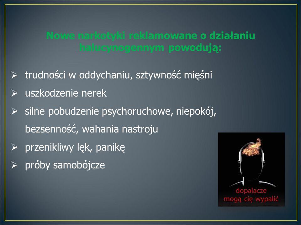 Nowe narkotyki reklamowane o działaniu halucynogennym powodują:  trudności w oddychaniu, sztywność mięśni  uszkodzenie nerek  silne pobudzenie psyc