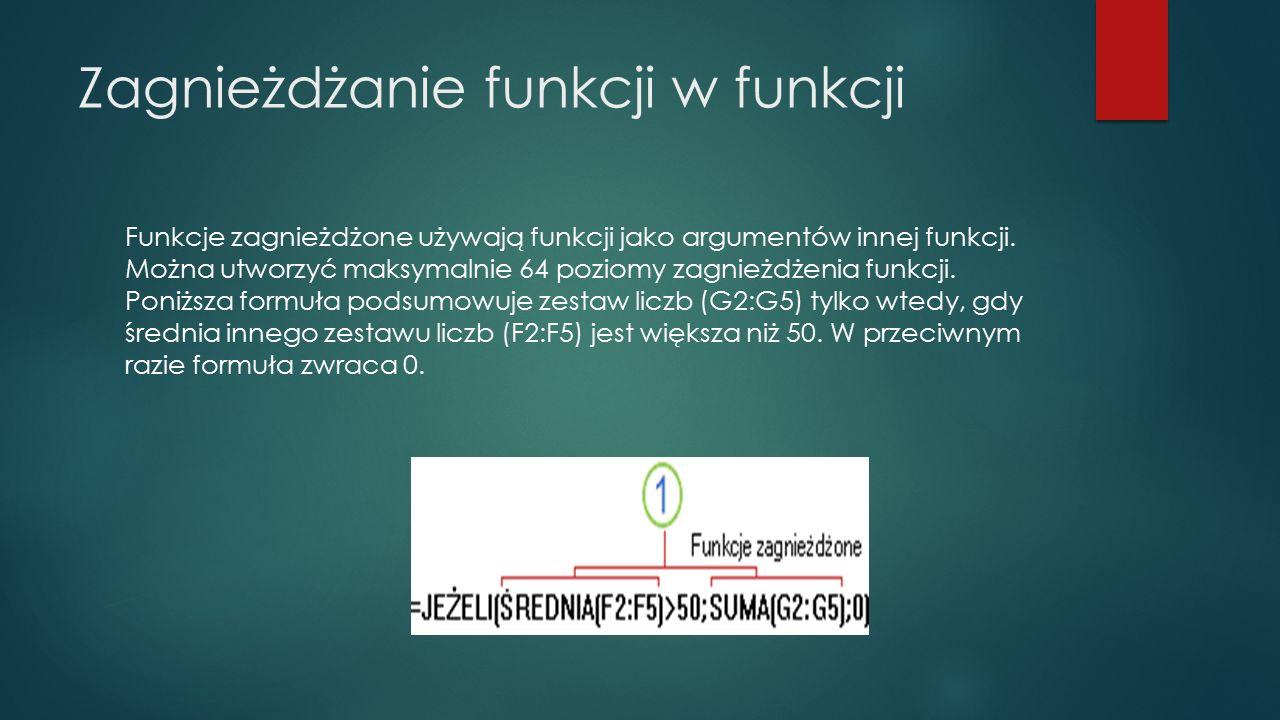 Zagnieżdżanie funkcji w funkcji Funkcje zagnieżdżone używają funkcji jako argumentów innej funkcji. Można utworzyć maksymalnie 64 poziomy zagnieżdżeni