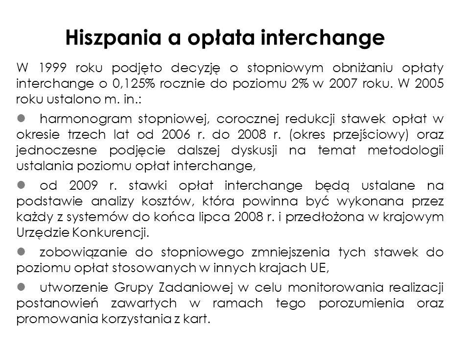 Hiszpania a opłata interchange W 1999 roku podjęto decyzję o stopniowym obniżaniu opłaty interchange o 0,125% rocznie do poziomu 2% w 2007 roku.