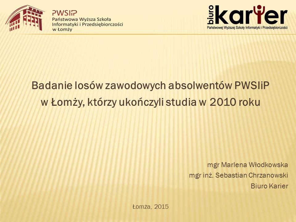 Badanie losów zawodowych absolwentów PWSIiP w Łomży, którzy ukończyli studia w 2010 roku mgr Marlena Włodkowska mgr inż.