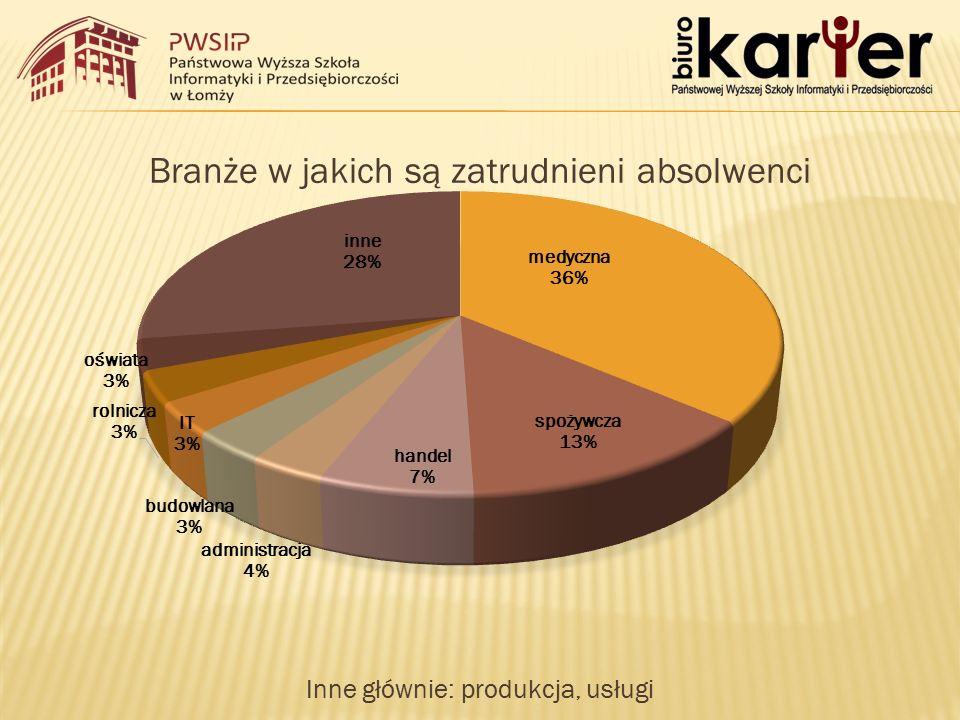 Branże w jakich są zatrudnieni absolwenci Inne głównie: produkcja, usługi